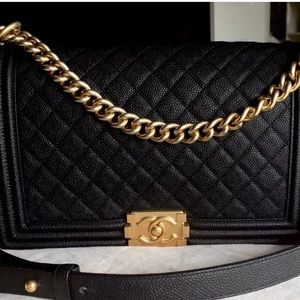 Black Chanel Quilted Caviar Chain Shoulder Bag